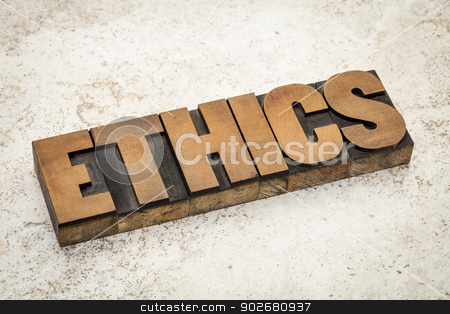 ethics word in wood type stock photo, ethics word in vintage letterpress wood type on a ceramic tile background by Marek Uliasz