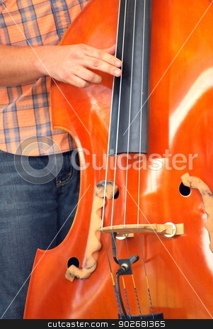 String bass. stock photo, Musician playing the string bass on stage. by OSCAR Williams