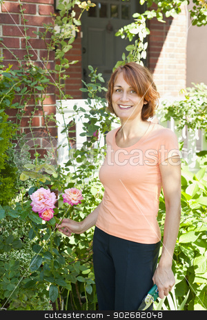 Woman pruning rose bush stock photo, Happy middle aged woman gardening and pruning rose bush with garden shears by Elena Elisseeva