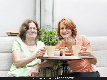 Mother and daughter relaxing in backyard stock photo, Mature women relaxing with coffee and cookies outside on patio by Elena Elisseeva