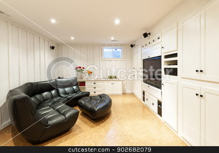 Finished basement in house stock photo, Finished basement of residential home with entertainment center, couch and flat screen television. by Elena Elisseeva