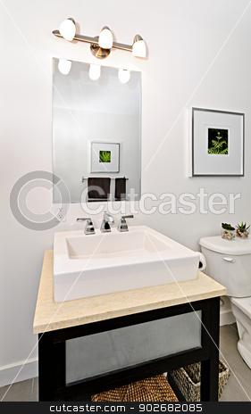 Bathroom sink stock photo, Interior bathroom vanity and mirror - artwork on walls are from photographer portfolio by Elena Elisseeva