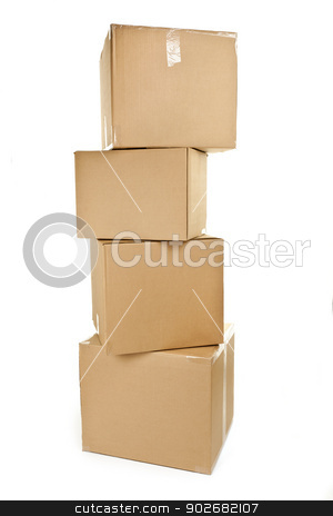 Stack of big cardboard boxes stock photo, Stack of four large cardboard moving boxes isolated on white by Elena Elisseeva