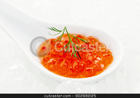 Caviar in spoon on ice stock photo, Closeup of caviar with dill garnish in white spoon on ice by Elena Elisseeva