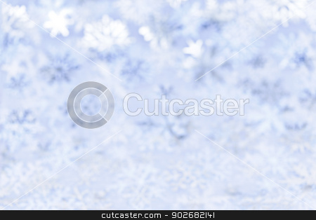 Christmas background with blue snowflakes stock photo, Blue abstract blurred Christmas background with snowflakes by Elena Elisseeva