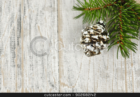 Christmas background with ornaments on branch stock photo, Golden Christmas pine cone on tree branch with wooden background by Elena Elisseeva