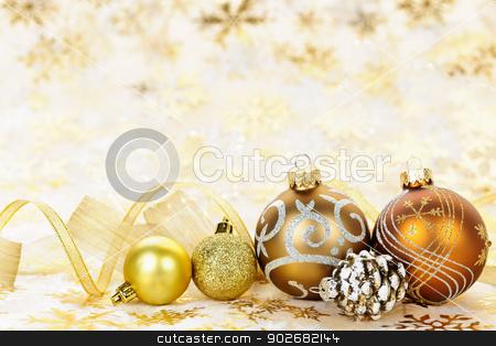 Golden Christmas ornaments background stock photo, Golden Christmas background with gold balls and ornaments by Elena Elisseeva