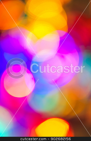Blurred Christmas lights stock photo, Multicolored out of focus Christmas light background by Elena Elisseeva