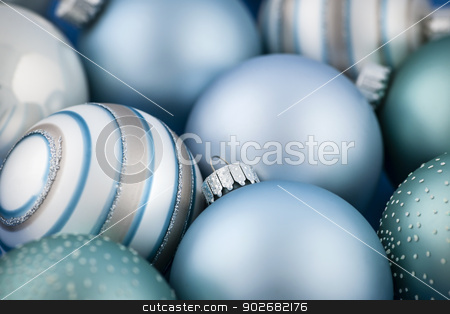 Blue Christmas ornaments stock photo, Close up of several blue Christmas glass baubles by Elena Elisseeva