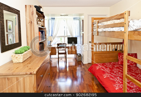 Bedroom interior with hardwood floor stock photo, Student bedroom with hardwood floor and bunk beds - artwork is from photographer portfolio by Elena Elisseeva