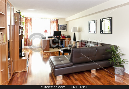 Modern living room interior stock photo, Living room with hardwood floor - artwork is from photographer portfolio by Elena Elisseeva