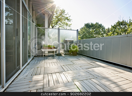 Apartment balcony stock photo, Spacious balcony of modern condo with plants on sunny day by Elena Elisseeva