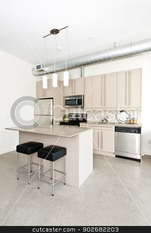 Modern condo kitchen stock photo, Kitchen in modern loft condo with island and stainless steel appliances by Elena Elisseeva