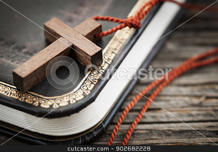 Cross on Bible stock photo, Closeup of simple wooden Christian cross necklace on holy Bible by Elena Elisseeva
