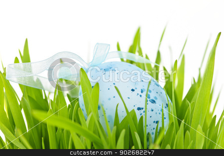 Easter egg in grass stock photo, Blue speckled easter egg with ribbon in green grass by Elena Elisseeva
