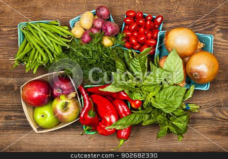Market fruits and vegetables stock photo, Fresh farmers market fruit and vegetable produce from above by Elena Elisseeva