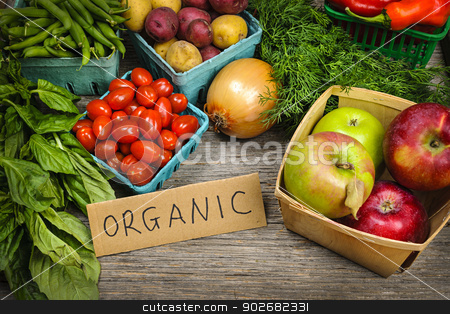 Organic market fruits and vegetables stock photo, Fresh organic farmers market fruit and vegetable on display by Elena Elisseeva