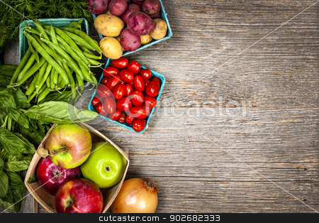Fresh market fruits and vegetables stock photo, Fresh farmers market fruit and vegetable from above with copy space by Elena Elisseeva