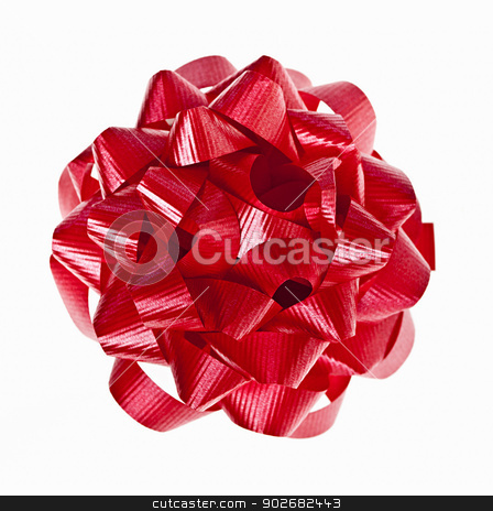 Red Christmas gift bow on white stock photo, Red Christmas gift bow of ribbon isolated on white background by Elena Elisseeva