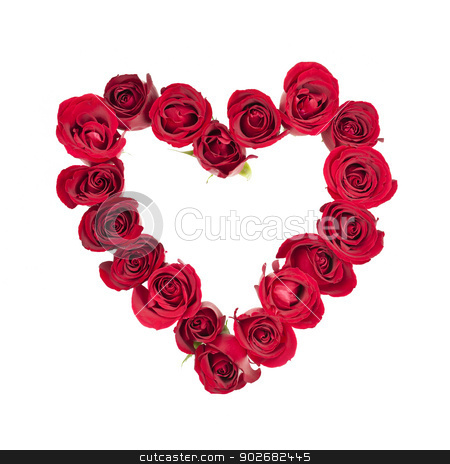 Rose heart stock photo, Heart made of fresh red roses on white background by Elena Elisseeva
