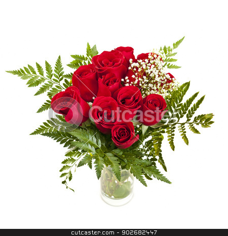 Bouquet of fresh red roses stock photo, Bouquet of fresh red roses in a vase isolated on white background by Elena Elisseeva