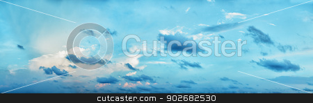 Panoramic composition - beautiful cloudy day sky stock photo, Panoramic high resolution composition - beautiful cloudy day sky by Alexey Romanov