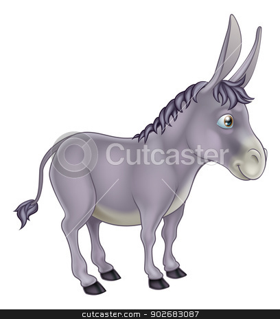 Donkey Cartoon stock vector clipart, An illustration of a cute grey cartoon donkey character by Christos Georghiou