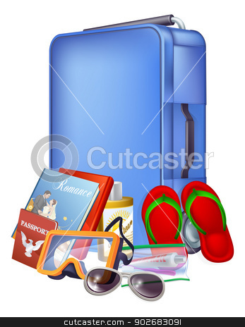 Trolley case and packing stock vector clipart, Illustration of a blue modern trolley case and holiday items ready for packing by Christos Georghiou