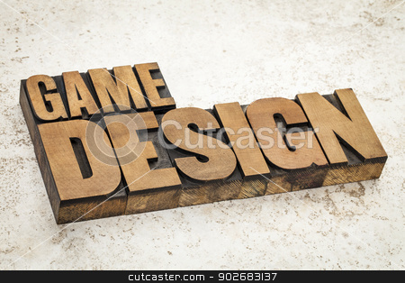game design  stock photo, game design  text in vintage letterpress wood type on a ceramic tile background by Marek Uliasz