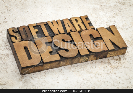 software design stock photo, software design  text in vintage letterpress wood type on a ceramic tile background by Marek Uliasz