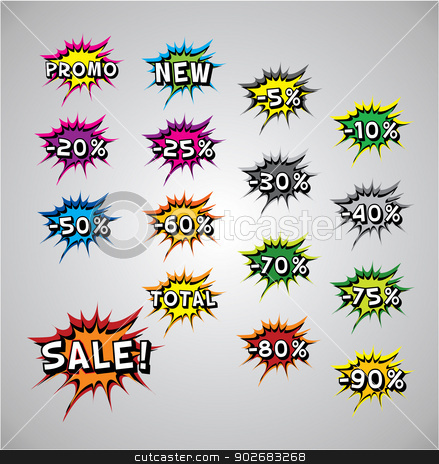 Comic book explosion buble - Sale stock vector clipart, Comic book explosion buble - Sale, vector illustration, tag space by Karolina Vyskocilova