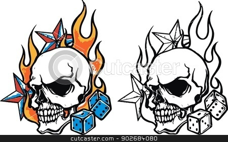 Skulldice flash tattoo stock vector clipart,  by Noa
