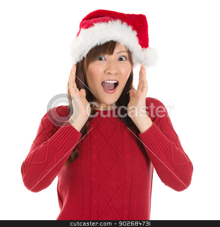 Shocked Asian Santa woman stock photo, Shocked Asian Santa woman shouting isolated over white background. Asian female model. by szefei