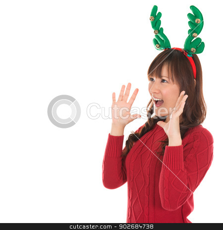 Happy Asian Santa woman shouting stock photo, Happy Asian Santa woman shouting isolated over white background. Asian female model. by szefei
