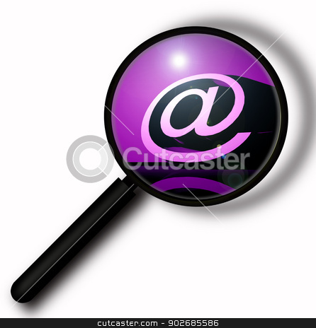 3D @ symbol stock photo, Close up of Magnifying glass, 2D digital art by Janaka Dharmasena