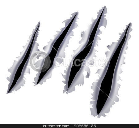 Monster claw scratch hole stock vector clipart, An illustration of a monster claw or hand scratch or rip through a metal background by Christos Georghiou