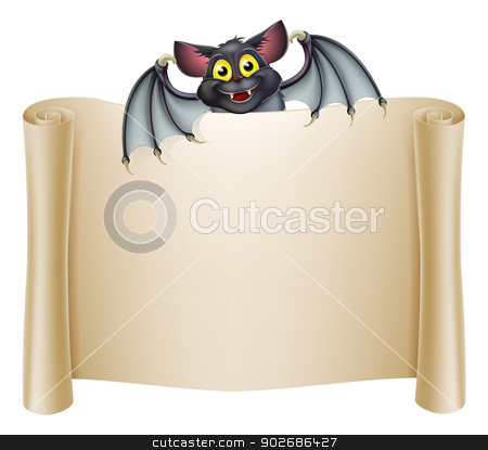 Halloween Bat Banner stock vector clipart, Halloween bat banner with a bat cartoon character above the banner scroll by Christos Georghiou