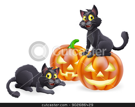 Halloween cats and pumpkins stock vector clipart, An illustration of cartoon Halloween black witch cats and Halloween pumpkins by Christos Georghiou