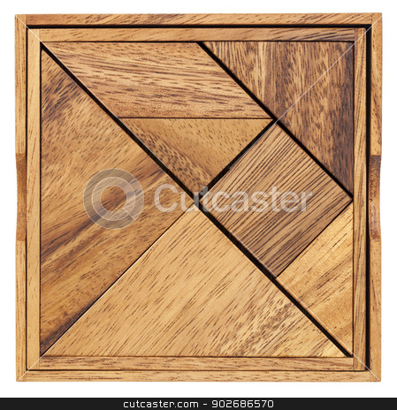 tangram - Chinese puzzle game stock photo, Pieces of a traditional Chinese Puzzle Game made of different wood parts to build abstract figures from them, isolated on white by Marek Uliasz