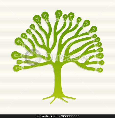 Green recycle light bulbs tree illustration