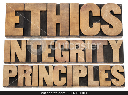 ethics, integrity and principles stock photo, ethics, integrity and principles word abstract - isolated text in vintage letterpress wood type by Marek Uliasz