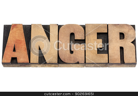anger word in wood type stock photo, anger word  - isolated text in vintage letterpress wood type by Marek Uliasz