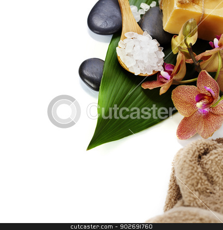 spa composition with beautiful orchid stock photo, spa concept (zen stones, sea salt, orchid flower and towel) over white  by klenova