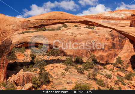 Landscape Arch Rock Canyon Devils Garden Arches National Park Mo stock photo, Landscape Arch Rock Canyon Abstract Devils Garden Arches National Park Moab Utah USA Southwest. Longest and thinnest arch in the world. by William Perry