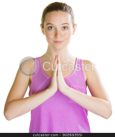 Woman with Palms Together stock photo, Calm European woman with palms together on white background by Scott Griessel