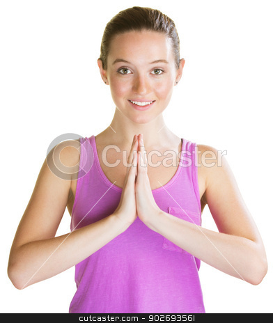 Smiling Fit Woman stock photo, Smiling fit woman in pink with palms together by Scott Griessel