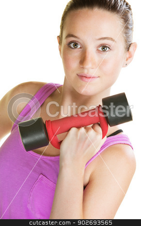 Lady with Dumbbell stock photo, Confident woman lifting dumbbell on isolated background by Scott Griessel