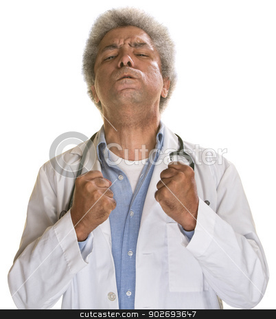 Tense Doctor stock photo, Aggravated middle aged doctor with clenched fists by Scott Griessel