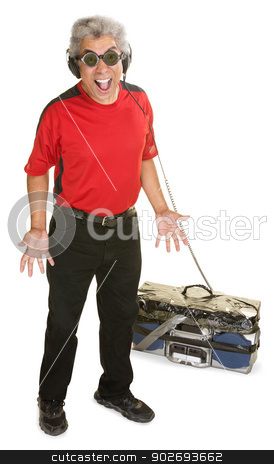 Excited Man with Old Radio stock photo, Excited Black man with old portable tape deck and headphones by Scott Griessel