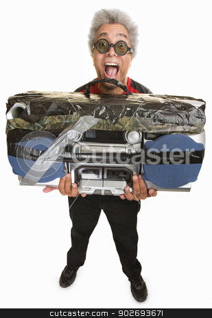 Man with Taped Boom Box stock photo, Handsome African man in sunglasses holding large tape deck by Scott Griessel